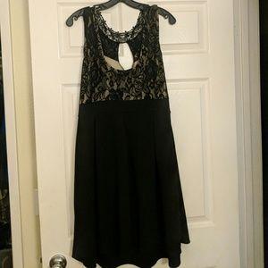 Nude and black skater dress
